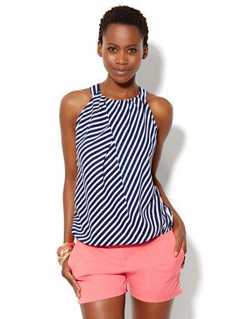 Pleat-Neck Stripe Halter Top - New York & Company
