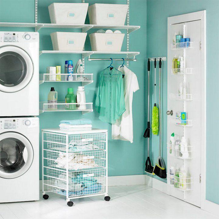 Exemplo que boa utilização do espaço! #lavanderia #áreadeserviço #organização #decoração #casa #imóvel