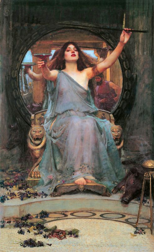 WATERHOUSE, John William (1849-1917)  Circe Offering the Cup to Ulysses 1891 Oil on canvas, 149 x 92 cm Gallery Oldham, UK Ed. Orig.