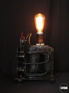 Lampe Tractor creation piece ancienne electrique industriel 4 steampunk Tractor Lamp industrial vintage loft indus