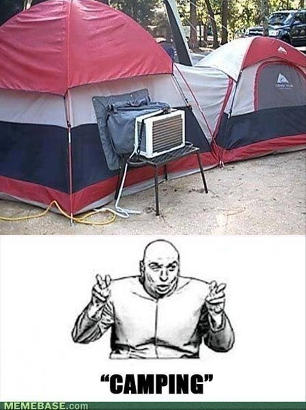 """""""Camping"""" If i had this set up I would camp all summer long! only need the A/C to sleep at night! lmao!"""