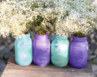 Lilac Weddings / Distressed Mason Jars / Painted Glass Jar Wedding Decoration…