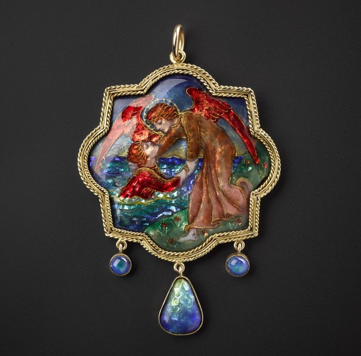 "Pendant entitled ""Out of the Deep"", gold and enamel: Scottish, Midlothian, Edinburgh, by Phoebe Traquair, 1908"
