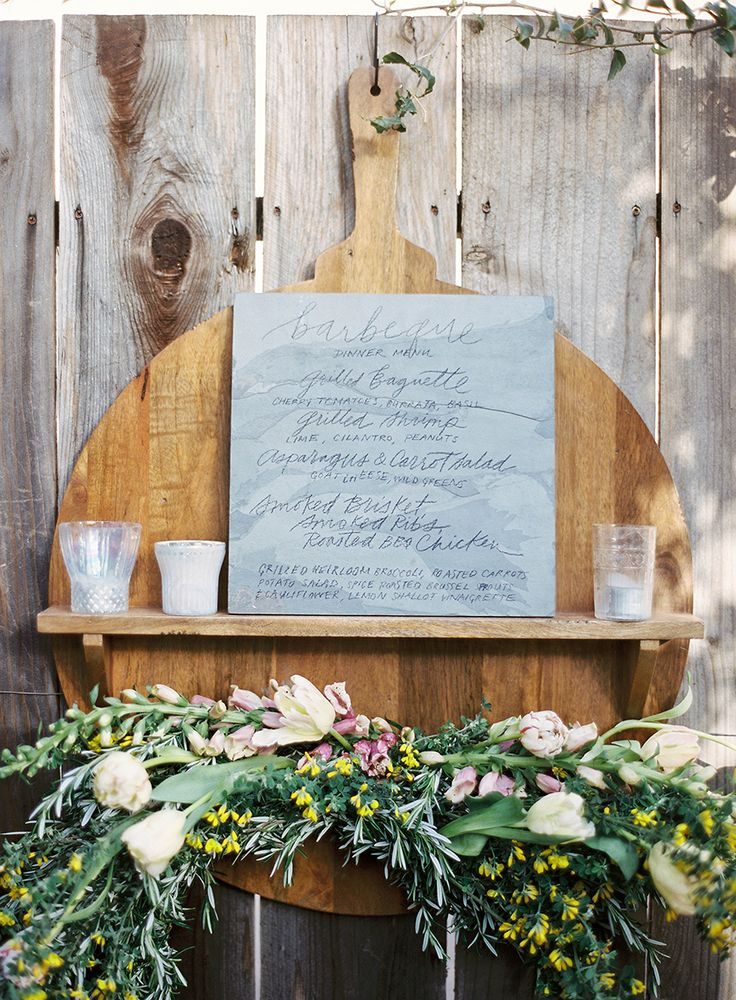 Slate Menu with Charcoal | JenHuangArt.com | JenHuangPhoto.com | Poppies and Posies Garland | Sweet Summer Nights: A Santa Barbara Barbecue with Some Pottery Barn Love and Michael Stuart Rubs & Catering