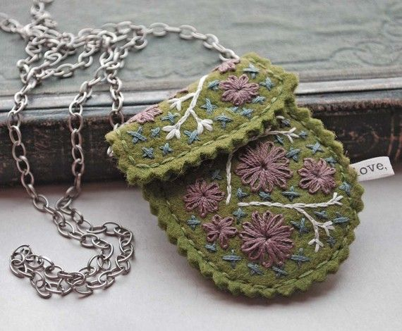Felt and embroidered necklace