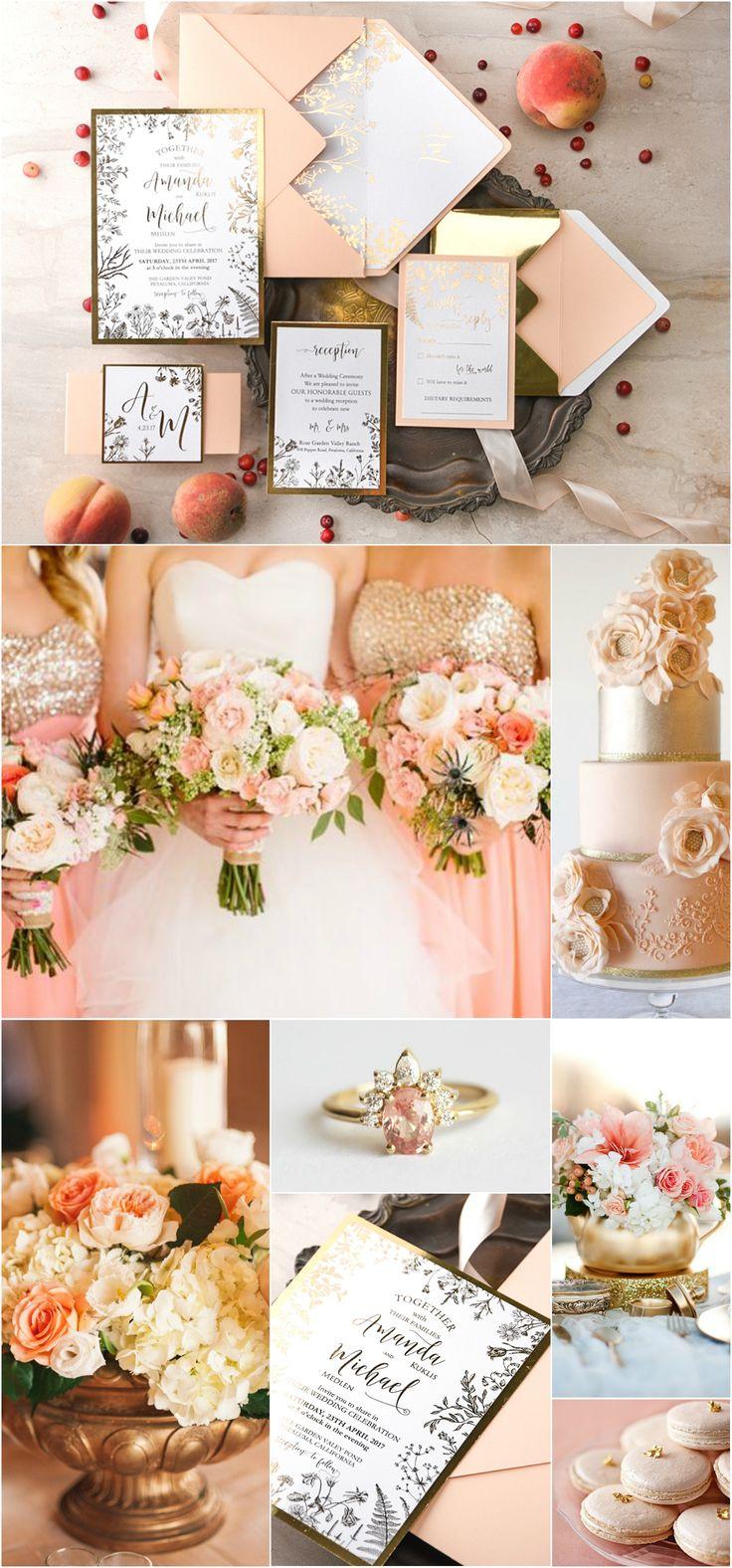 Peach & Gold Wedding Invitations #romantic #peach #blush #gold #weddingideas #glamorous #elegant