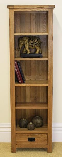 Rustic Oak 1 Drawer Tall Narrow Bookcase