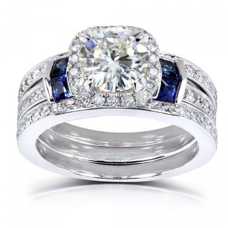 Round cut Moissanite Diamond & Blue Sapphire Wedding Ring Set 2 Carat ct
