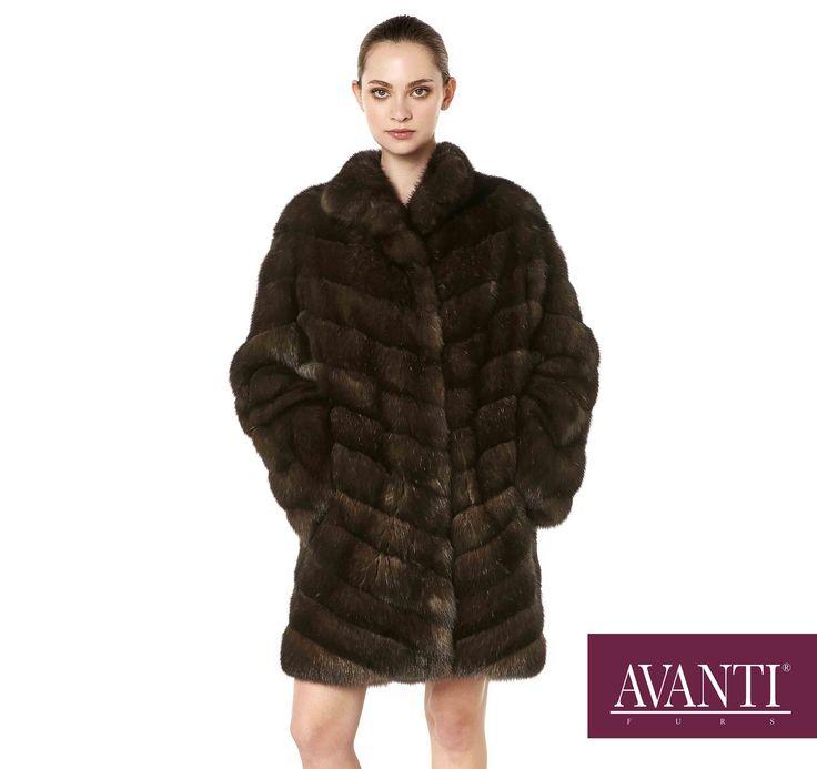 AVANTI FURS - MODEL: JESY-M DIAGONAL SABLE JACKET with Mink Silk details #avantifurs #fur #fashion #fox #luxury #musthave #мех #шуба #стиль #норка #зима #красота #мода #topfurexperts