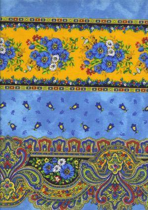 """Bonne Provence"" Provence fabric: Tradition bleu-jaune rayure"