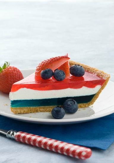 JELL-O Easy Patriotic Pie -- Looking for something other than the ol' strawberries and blueberries on pound cake? Check out our easy layered pie recipe for a new take on patriotic desserts.