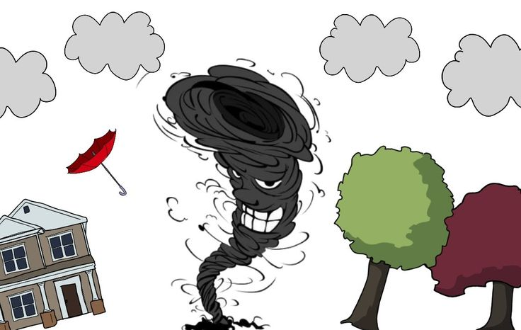 A cartoon storyboard explanation of how tornadoes form.