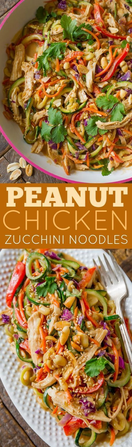 HEALTHY, easy, peanut chicken with zucchini noodles. The peanut sauce is delicious!!