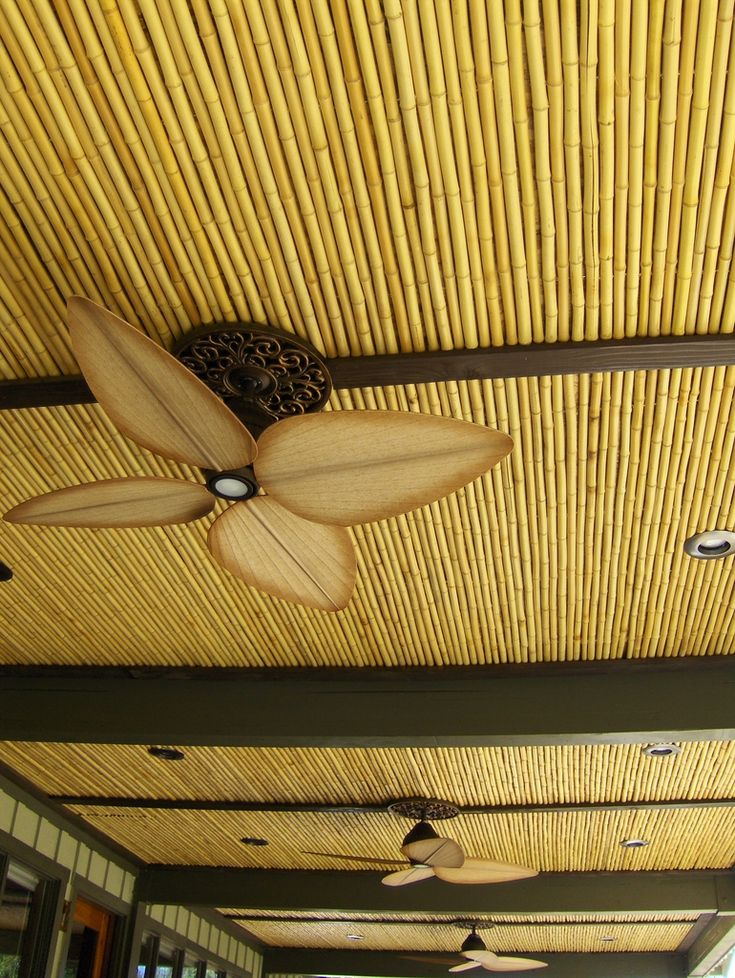 Pre strung bamboo makes for an easy ceiling treatment with for Bamboo roofing materials