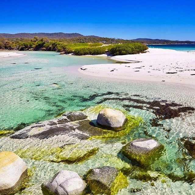 The beach at Binalong Bay - surely this in what heaven looks like?  Binalong Bay is a small coastal town on Tasmania's northeast coast at the sourthern end of the famous Bay of Fires. #binalongbay #beach #tasmania #discovertasmania. Image Credit: Elisa Detrez