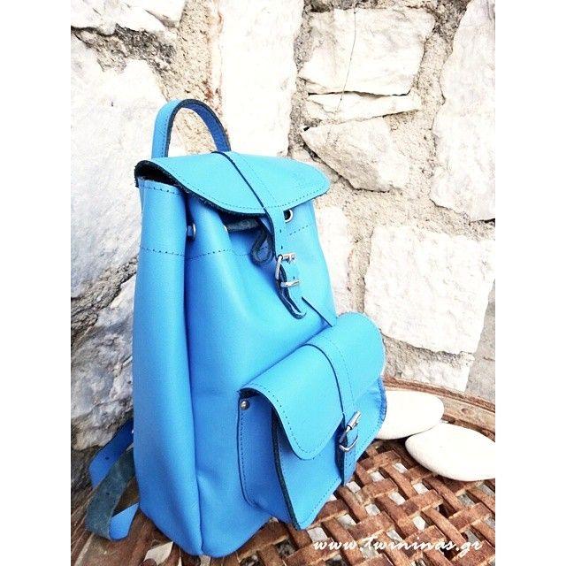 Twiniñas Royal Blue Leather Backpack  SALES  #twiniñas #twininas #genuine #leather #backpack #greekleather #high #quality #royal #blue #color #bag #greece #inspirations #inspired #greekislands #life...