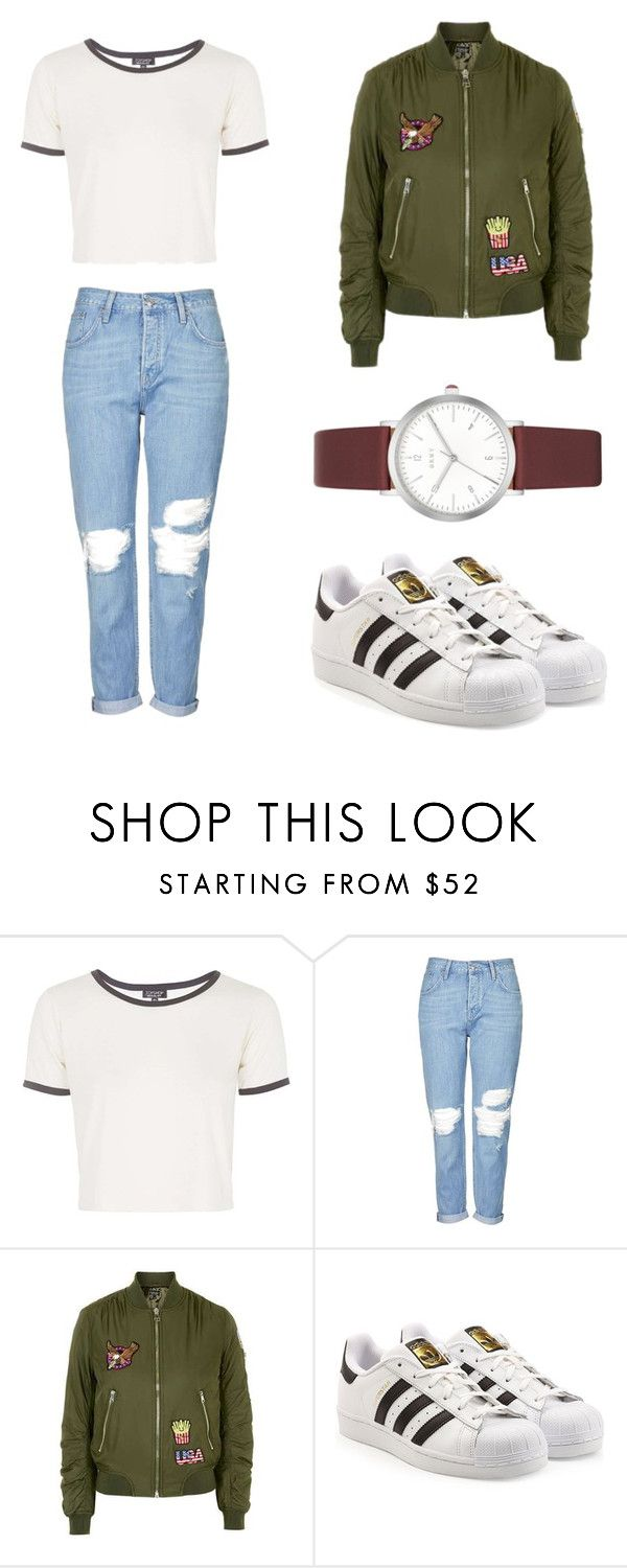 """""""Untitled #72"""" by bruhash ❤ liked on Polyvore featuring Topshop, adidas and DKNY"""
