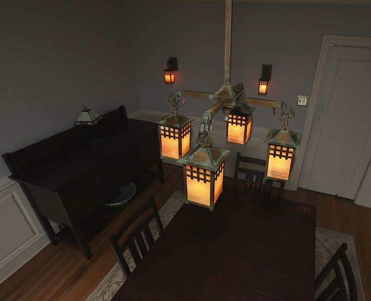 This Stunning Craftsman Chandelier And Wall Mount Lights Fit Perfectly In Dining Room Are