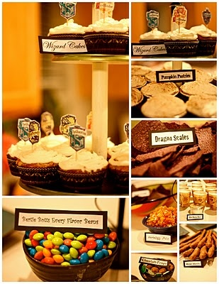 Harry Potter party - Great food ideas - especially like the chips & salsa (aka Dragon Scales & Herbology Mix)