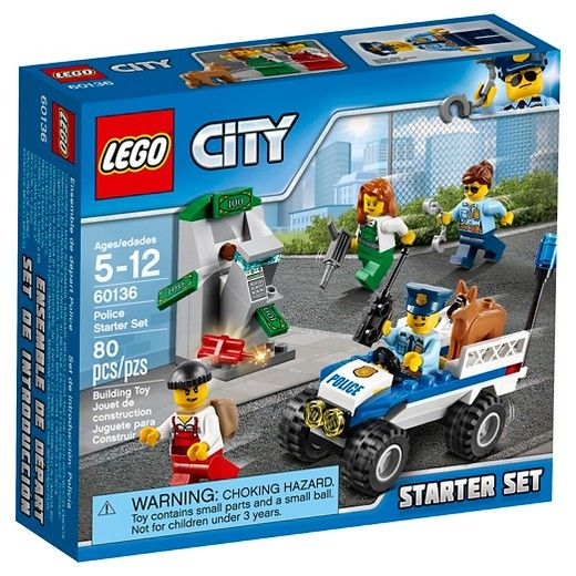 Any Lego City sets would be cool! LEGO® City Police Police Starter Set 60136:<br>Stop the crooks before they empty the ATM! Use the police ATV to stop the crooks from emptying the ATM, featuring a police radio, handcuffs, jackhammer, ATM with money bills, four minifigures and a police dog figure.