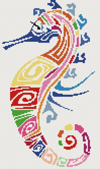 Seahorse abstract counted cross stitch kit by YiotasXStitch