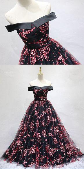 8f6da719a9cb Chic Black Tulle Off Shoulder Floor Length Long Prom Dress