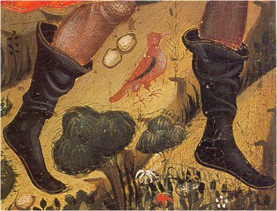 - OPUS INCERTUM -: El ESTIVAL Estivales con soletilla. 1390-1405. Huida a Egipto, Maestro de Alpuente, Museo de Zaragoza (detalle)  Estivals with soles, can be worn in Winter as well.