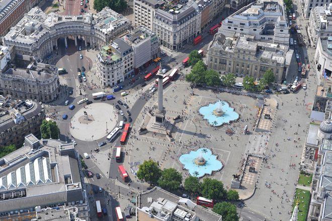 An aerial photograph of Trafalgar Square, Central London