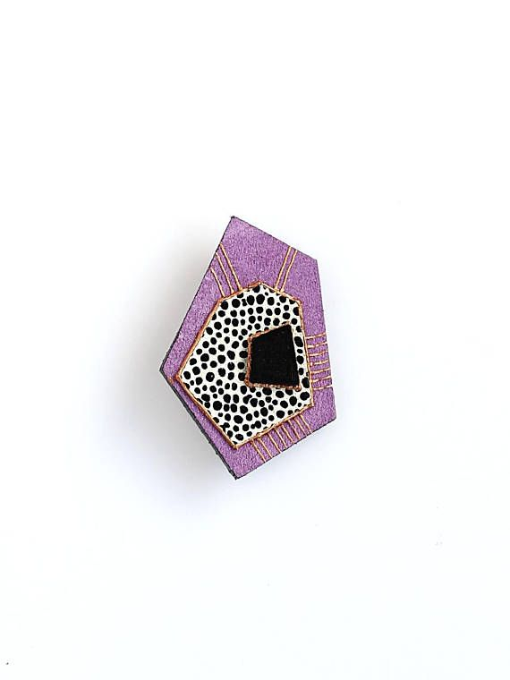 Leather Geometric Brooch Purple Suede Black and White Dots