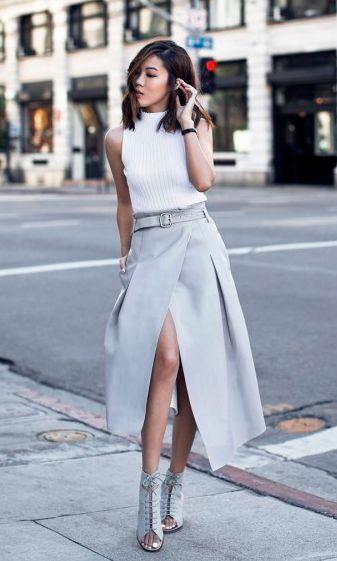 Купить готовую выкройку юбки-миди с запахом