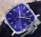 VINTAGE OMEGA GENEVE AUTOMATIC DATE CAL 1012 BLUE DIAL DRESS MEN'S WATCH
