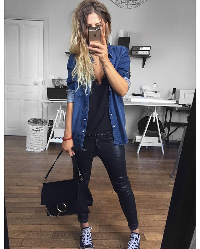 Jean/cuir ✔ chemise #Bash #bridgetforever sur @bashparis caraco #thekooples (old) cuir #eponymcreation (old) baskets #converse (old) sac #Chloe @chloe