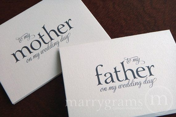 Wedding Cards to Your Mother and Father -- Parents of the Bride