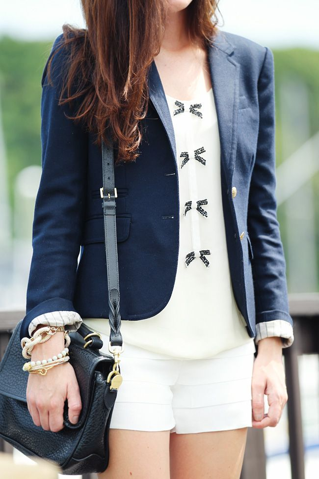 : Girls, Yellow Outfits, White Shorts, Cute Bows, Navy Blazers, Summer Style, Fashion Street, Bows Shirts, Buttons Navy