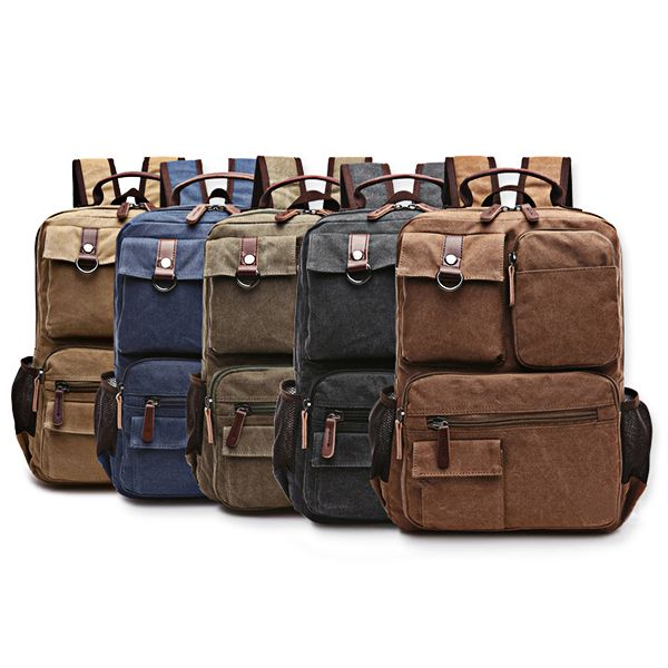 14inch Laptop Men Canvas Backpack Travel Hiking Large Capacity Student Backpack