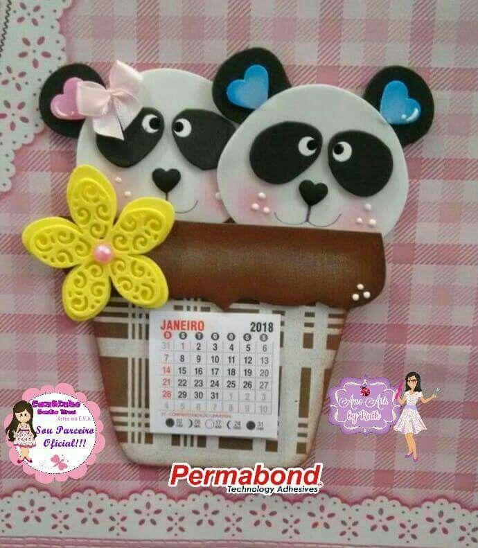 Calendario Panda Com Imagens Tudo Em Eva Artesanato Em Eva