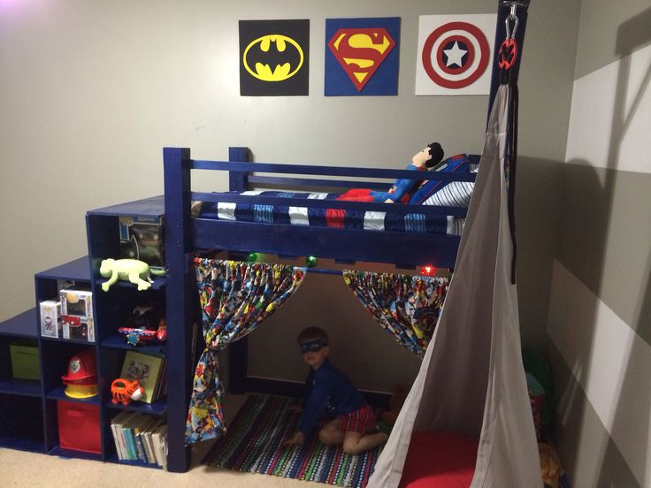 DIY superhero toddler loft bed & cubby stairs