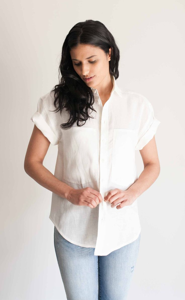 linen is probably my all-time favorite fabric. i love simple shirts like this to build a wardrobe with.  | The Friend - Women's Wayward Fit Cream Linen Short Sleeve Shirt | Made in Canada | Power Of My People