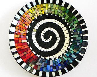 Mosaic Art -Rainbow Dish with Spiral Motif, Platter, Mosaic Bowl, Wall or Table Decoration, Medium Size