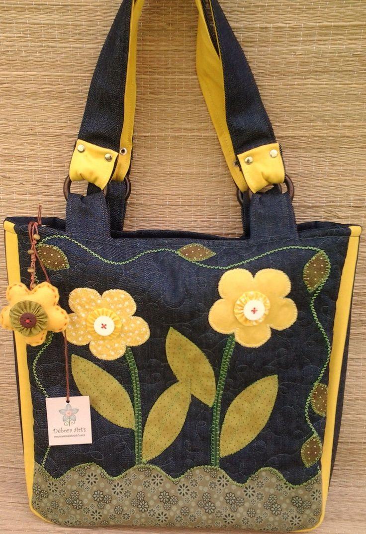 Bolsa Jeans Flores Amarelas
