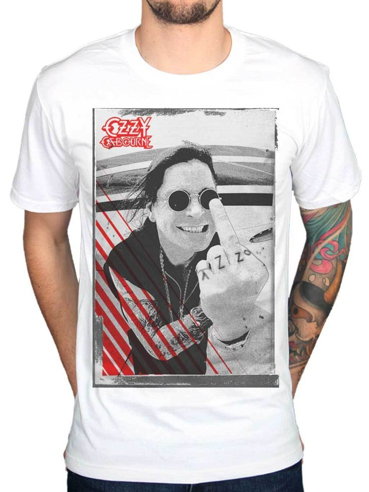 Ozzy Osbourne Middle Finger T Shirt Crazy Train Live Scream Red Cross  Printing Tee Shirts Hipster O-Neck Cool Tops #Affiliate
