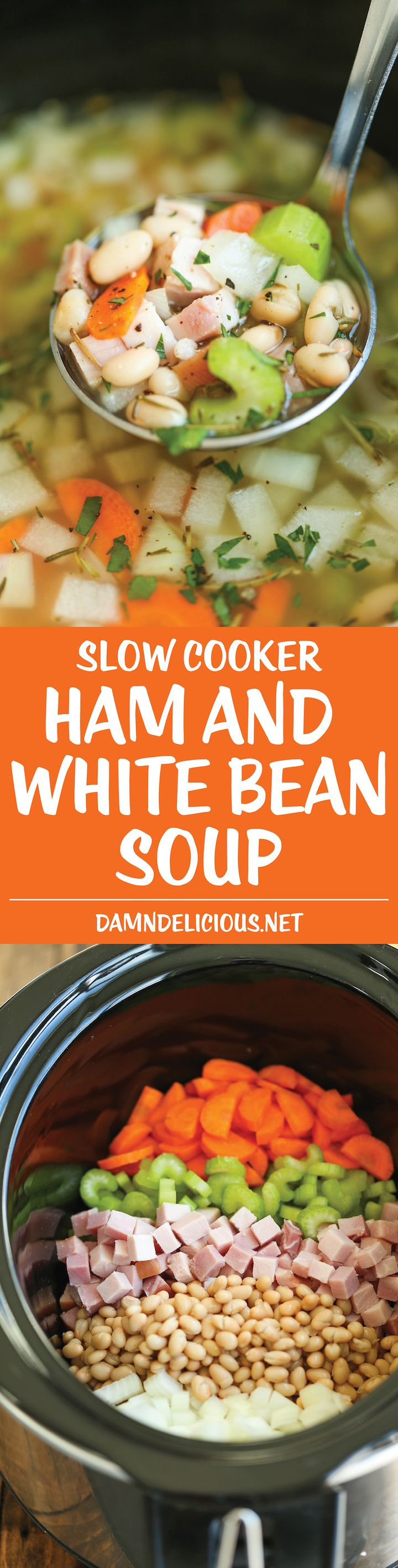 Slow Cooker Ham and White Bean Soup - Hearty, cozy and just so easy! The crockpot does all the work for you. Perfect to use up that leftover hambone!