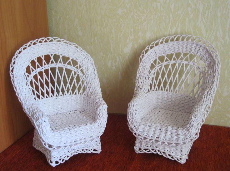 Кресла высотой 17 см. Плетение из бумажной лозы  Arm-cheirs 17 sm. Paper wicker