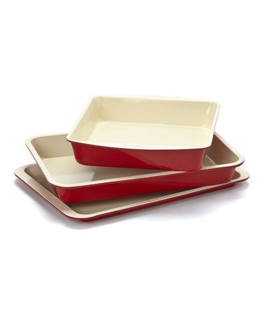 'Red Square Ceramic Bakeware Set' — @Zulily!    $30.°°(+/-)!      *Love this!    Non-stick, ceramic over carbon steel.
