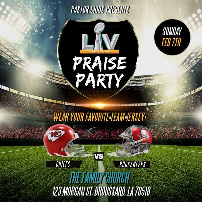 Superbowl Lv 2021 Church Flyer Template In 2021 Football Poster Football Template Poster Template