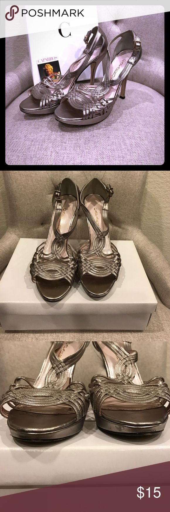 Caparros Wyndham Metallic Strappy Heel Pre-loved/used. Visible signs of wear shown. Some scuffs on soles. Mushroom Metallic with Gold Fastener. Size 8.5 Caparros Shoes Heels