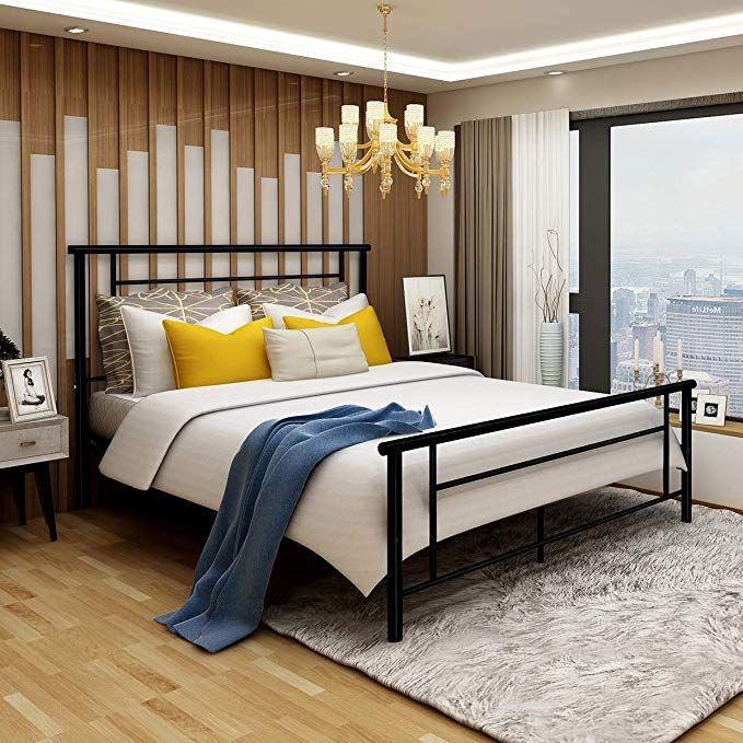 Best Amazon Com Metal Bed Frame Iron Decor Steel Queen Size 400 x 300