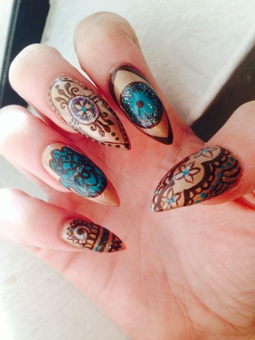 evil eye & hamsa nail art