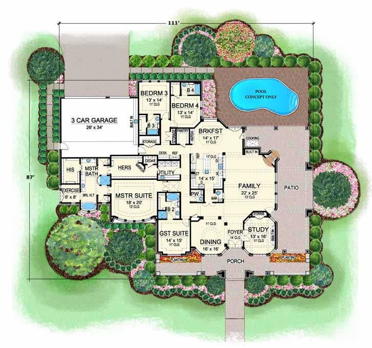 European Style House Plans   4536 Square Foot Home, 1 Story, 4 Bedroom And  · Ranch House PlansHouse Floor ...