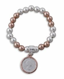 Von Treskow 14Ct Rose Gold Filled/Sterling Silver 8Mm Ball Stretchy Bracelet W/ 2Tone Sixpence Dangle